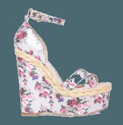 Обувь на платформе с литой цельной подошвой обтянутой тканью.
